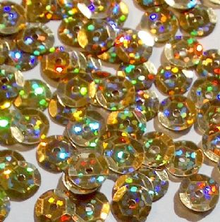 8mm Hologram Gold Semi-cupped Sequins x 20g